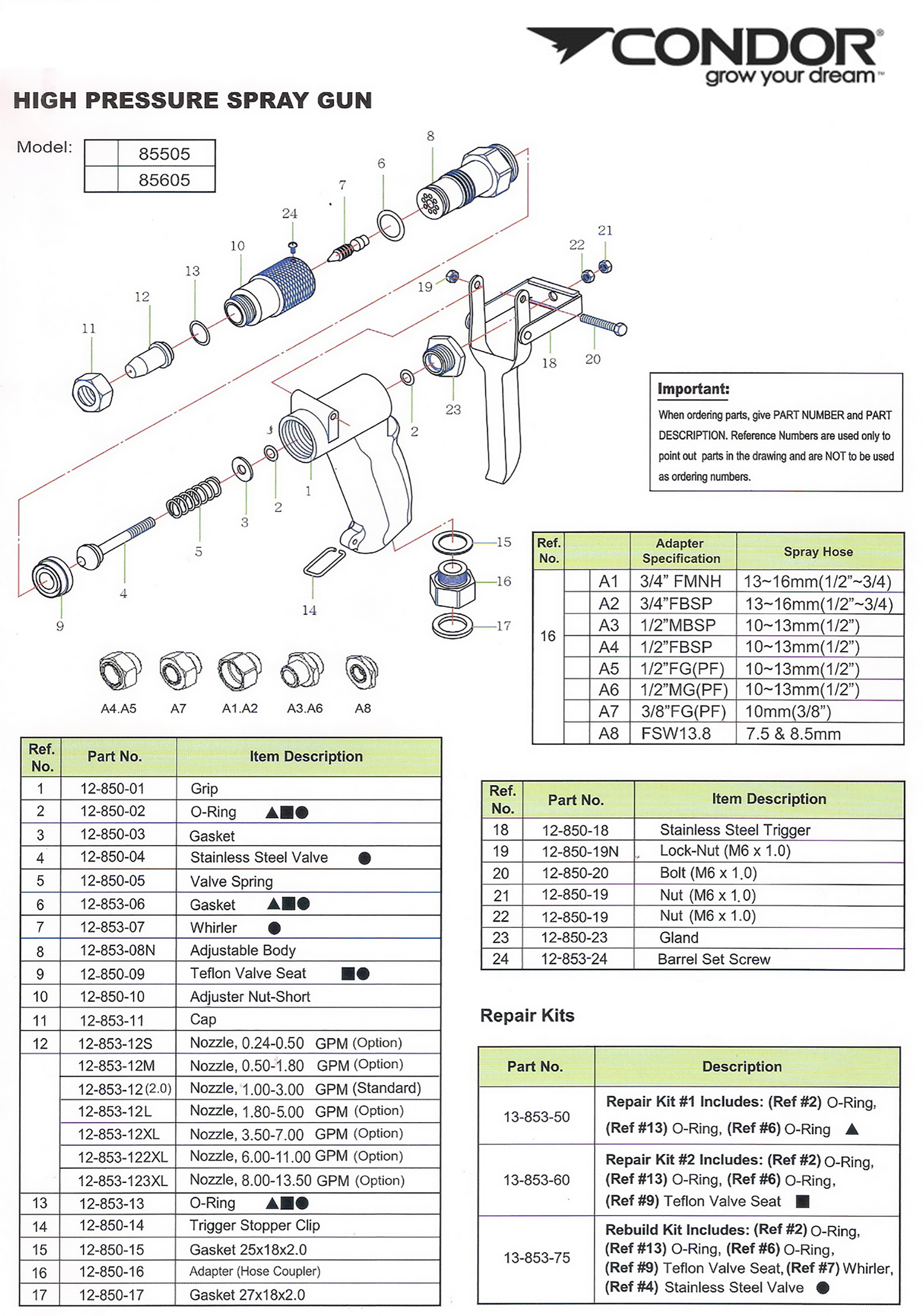 ... Honda GX120 owners manual K-pistol Spare parts list